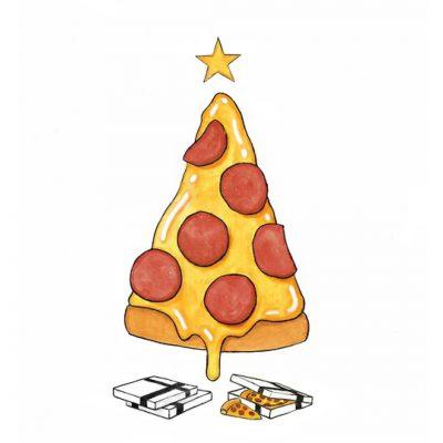 Kartun Pohon Natal Pizza