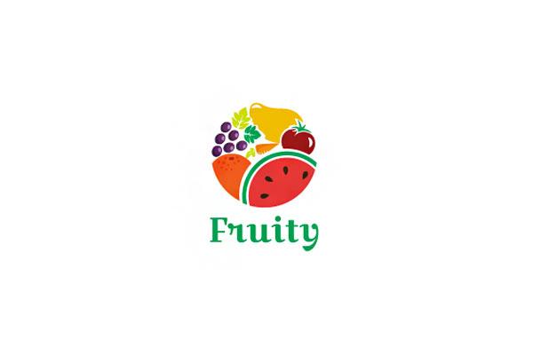 Logo Koktail Buah Bulat Melingkar