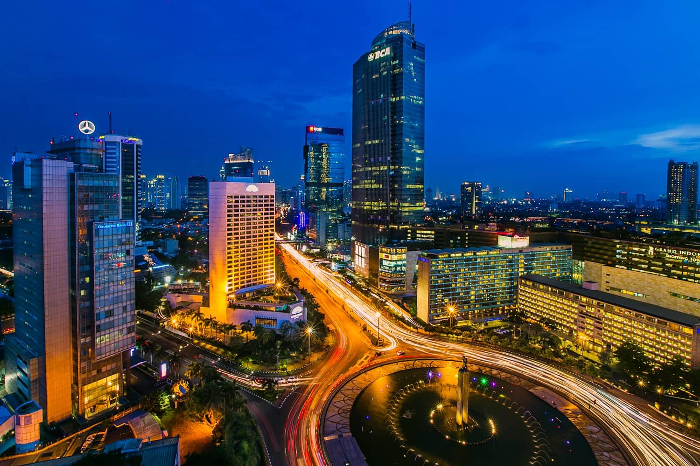 Pemandangan Kota Malam Hari Jakarta Bundaran HI