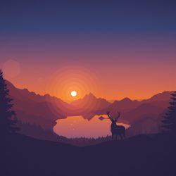 Rusa dan Pemandangan Alam Minimalis