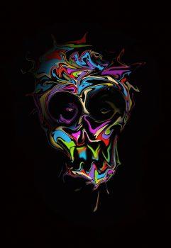 lukisan Abstrak Wajah Tengkorak