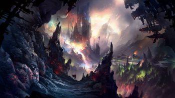 fantasi ilustrasi gua wallpaper