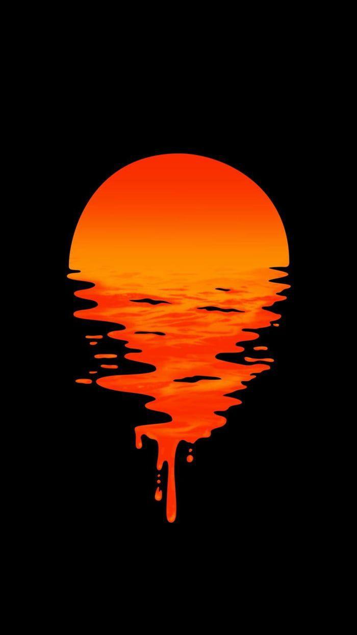 Ilustrasi Matahari Terbenam Liquid Wallpaper Phone