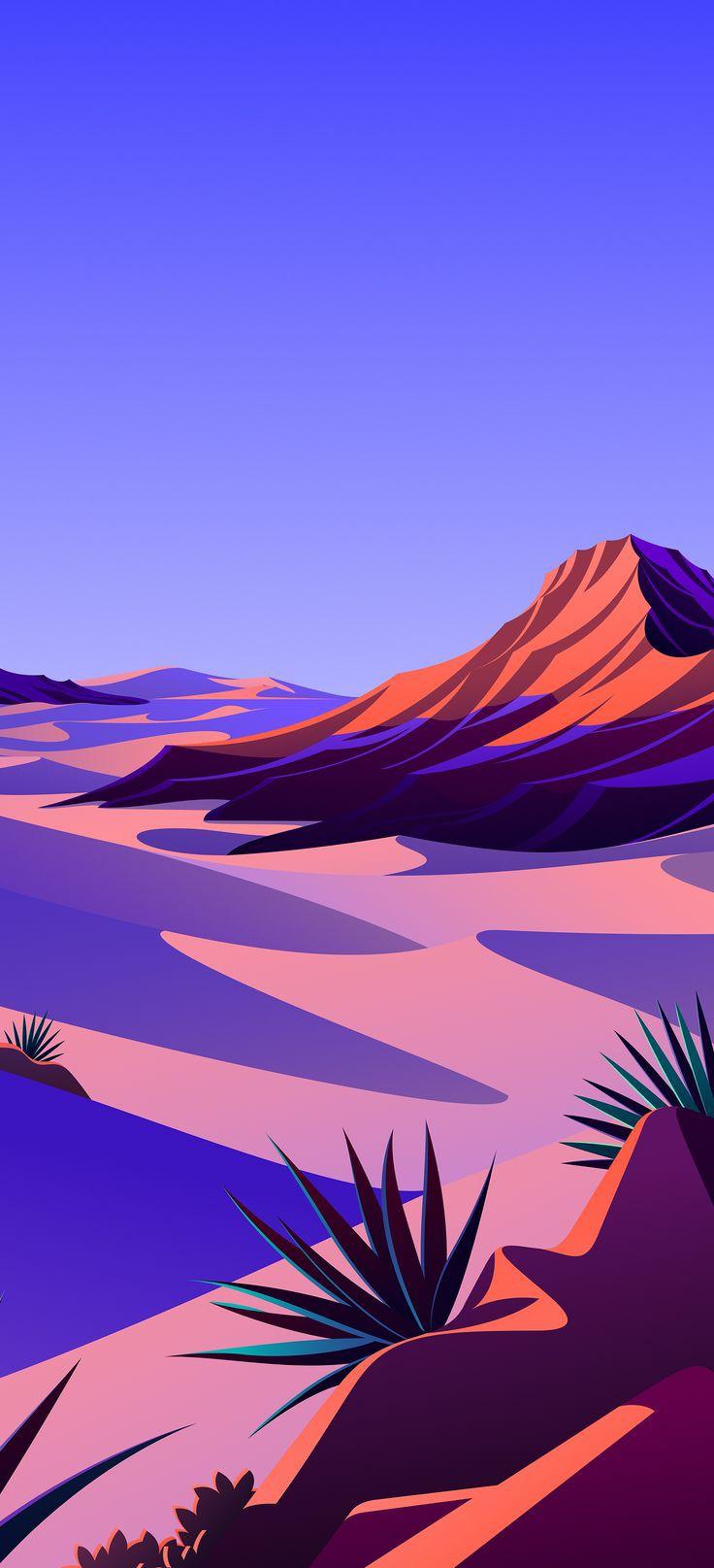 Gambar Pemandangan Gurun Pasir Flat Ilustrasi