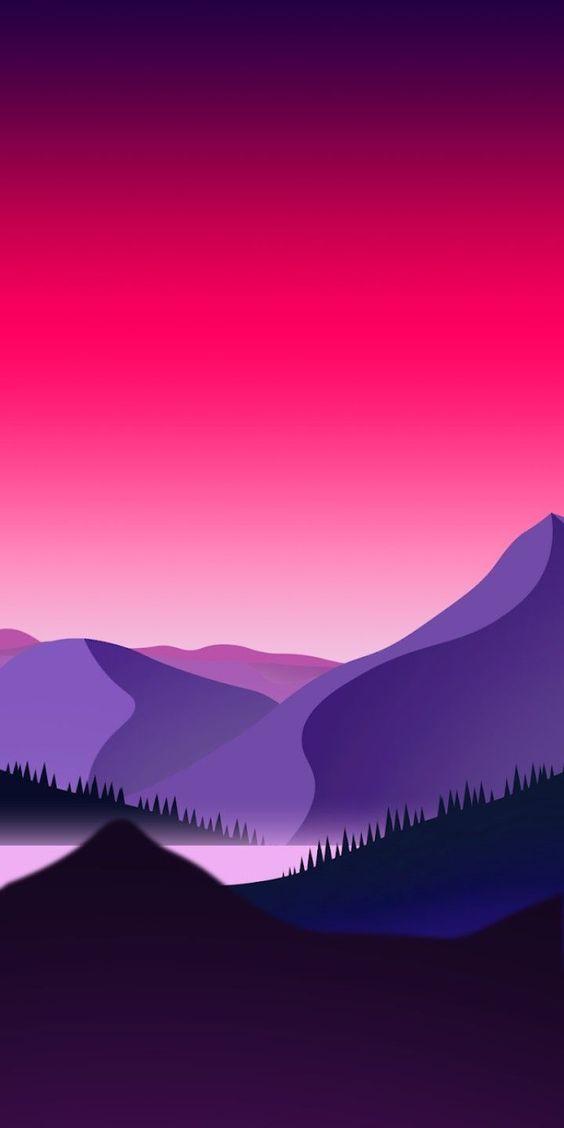 Pemandangan Alam Pegunungan & Sungai Flat Wallpaper Phone