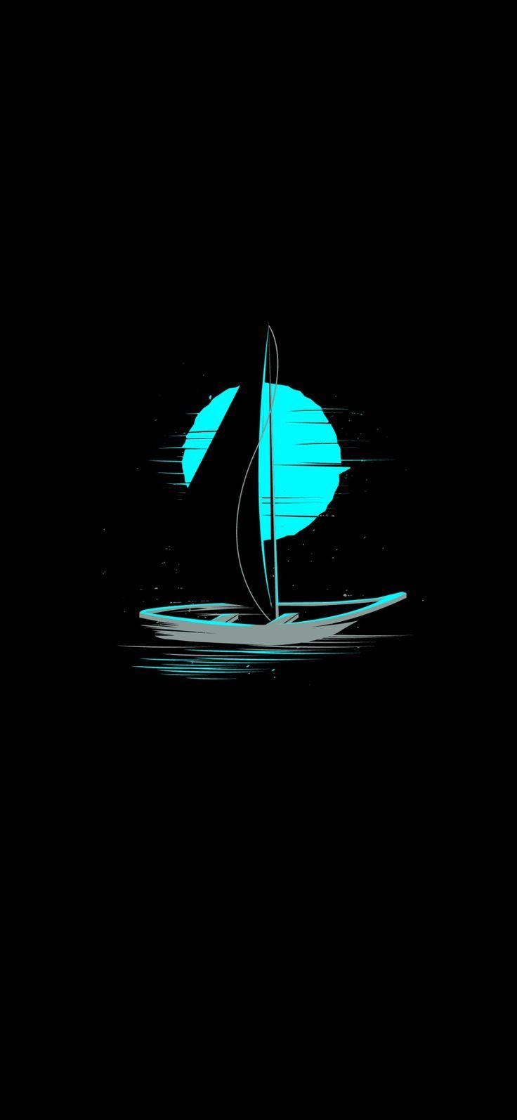Bulan Biru dan Perahu Layar Wallpaper Phone