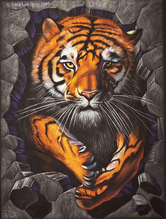 Harimau Wallpaper 3D Lukisan