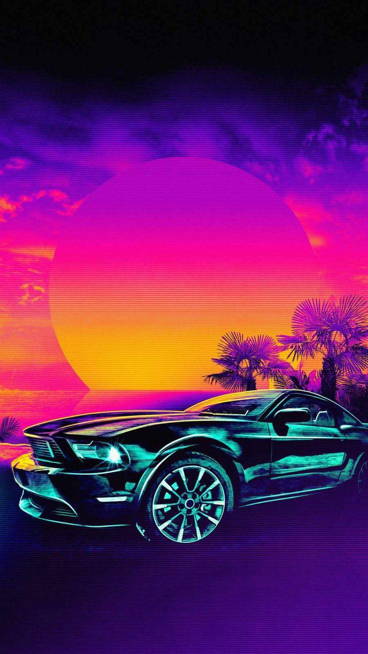 Mobil Dodge Challenger Matahari Terbenam