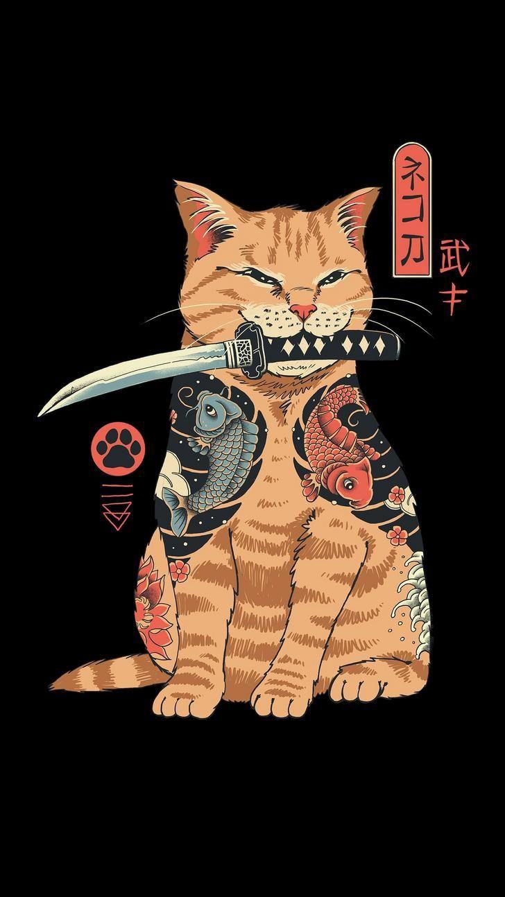 Kucing Keren Pedang Katana Wallpaper Handphone
